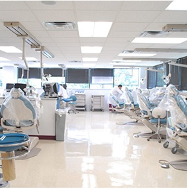 Row of exam chairs at dental school